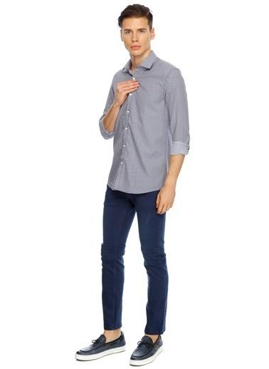 Cotton Bar Desenli Uzun Kollu Gömlek Lacivert